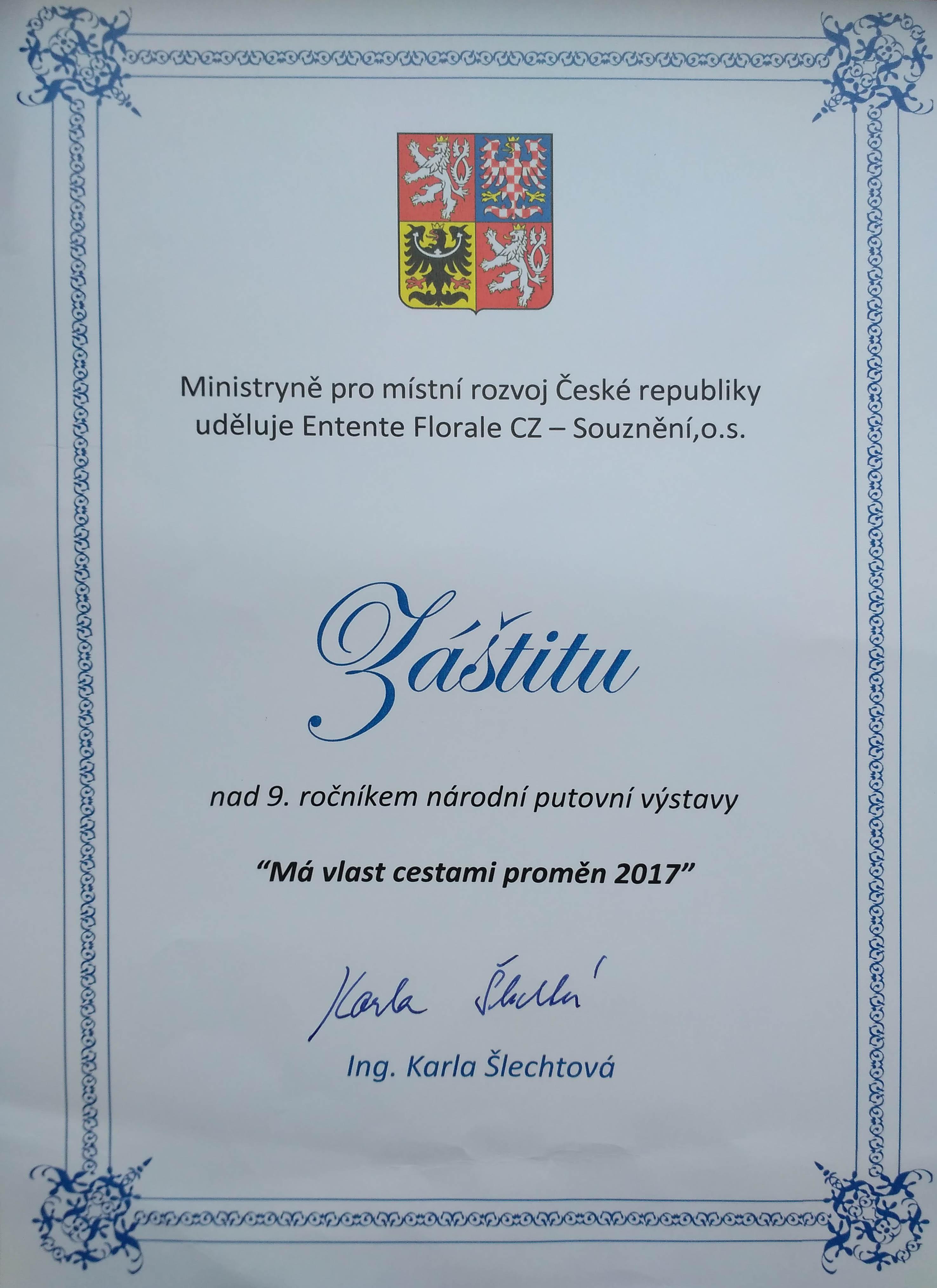 w 2017 MMR Záštita Má vlast
